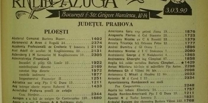 Lista abonaților la serviciul telefonic în perioada interbelică.