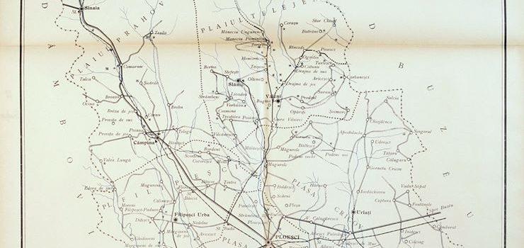 O hartă a drumurilor județului Prahova la 1897.