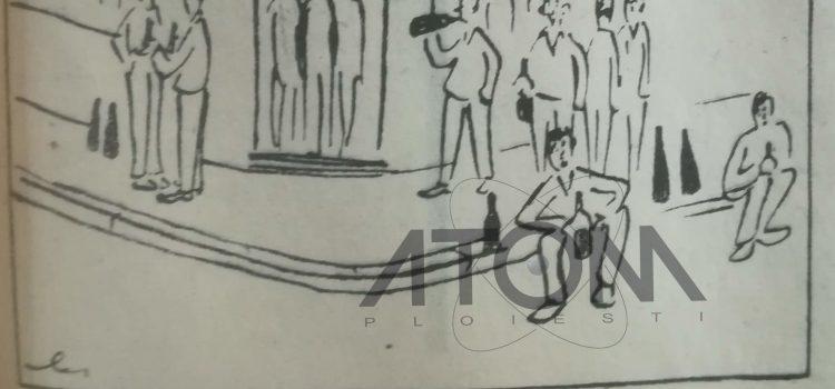 """La iarba verde"" pe trotuarul de fata patiseriei ""Paltinis"" – caricatura 1967"